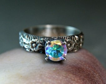 Opalescent Topaz Gemstone Stacking Ring, Sterling Silver Jewelry, Solitaire Stacking Ring