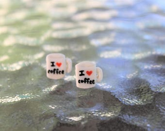 Polymer Clay I Love Coffee Mug Earrings