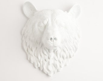 White Bear Head Wall Mount - The Raleigh by White Faux Taxidermy  - White Resin Bear Hanging - Resin White Faux Taxidermy- Animal Head Mold