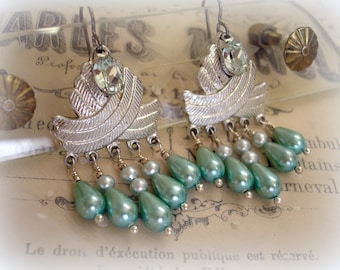 agua caliente one of a kind vintage assemblage earrings