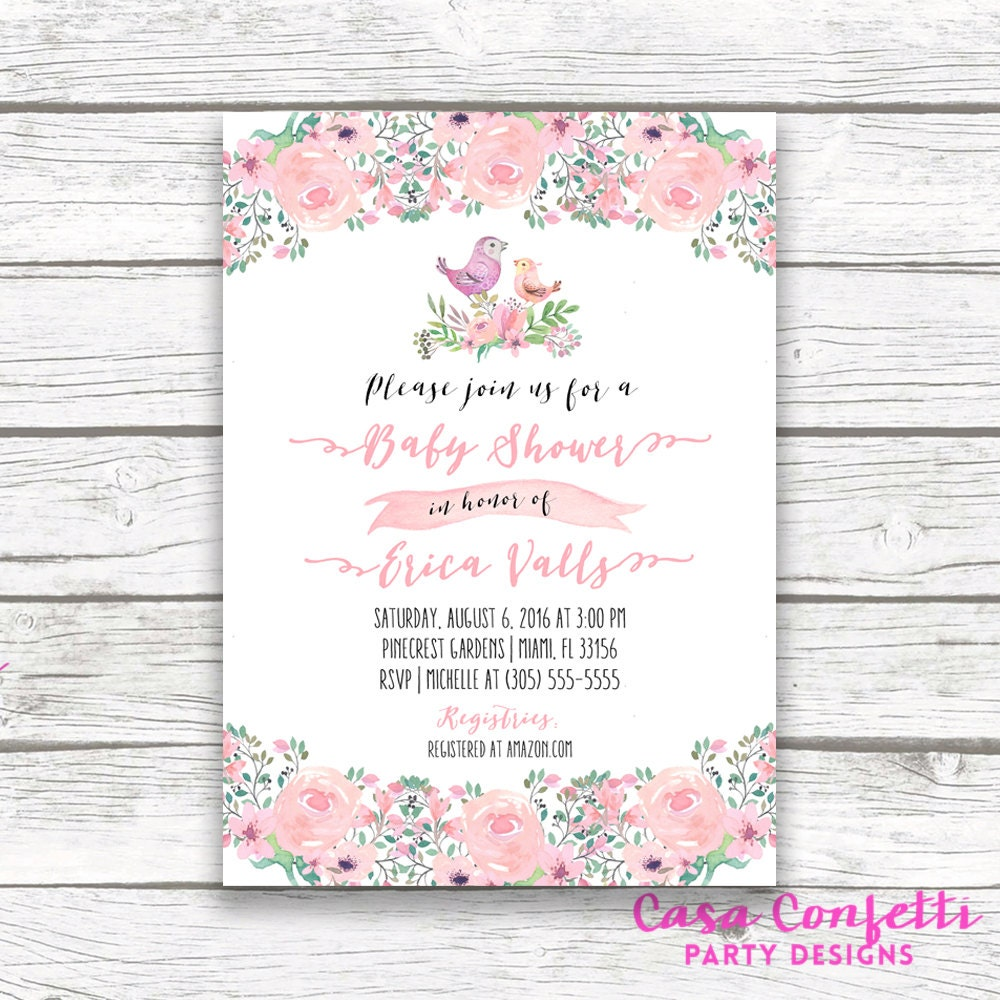 Bird baby shower invitation boho baby shower invitation pink bird baby shower invitation boho baby shower invitation pink watercolor floral girl baby shower invite printable invitation filmwisefo Image collections