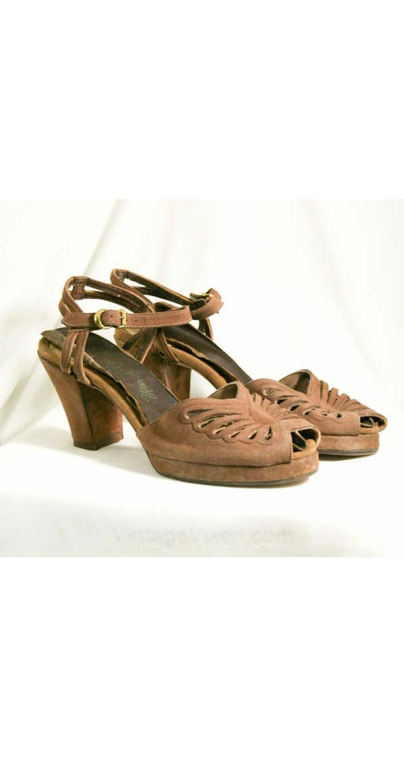 Butterfly 5 Deadstock Size 40293 Suede Heels Mocha 1940s Toe 1 with Shoes Size Brown Leather Open 5N 40s Narrow Cutwork Soft 5 gwzRFd