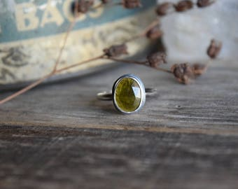 Silver Tourmaline Ring, Choose Your Stone, Alternative Engagement Ring, Rustic Tourmaline Ring, Green Tourmaline, Raw Rose Cut Tourmaline