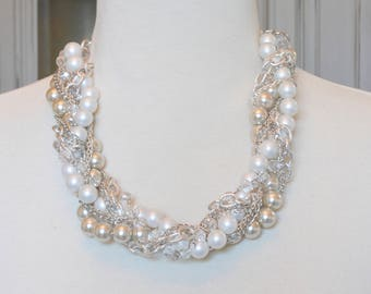 White & Silver Pearl Bridal Necklace, Ivory Champagne Bridal Pearl Necklace, Twisted Pearl Statement Necklace