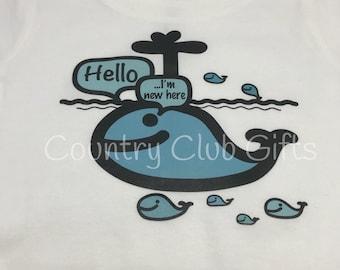 Infant shirt | baby shirt | hello I'm new here | baby boy gift | baby girl gift | novelty | Baby shower gift | New baby gift | Hello | Whale