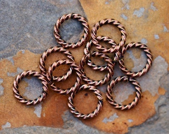 4  Antique Copper 11mm Large Rope Jumprings  - Nunn Designs Low Shipping