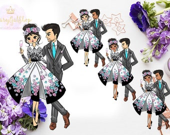 DIGITAL ONLY! Miss Glam Lady D Valentine Couple Die Cut/Sticker