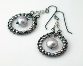 Gray Pearl Hoop Dangle Earrings, Beaded Hoops Dangle in Gray Pearls, Artisan Earrings Original Handmade Design, WillOaks Studio