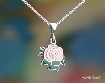 "Sterling Silver Pink Rose Necklace 16-24"" Chain or Pendant Only .925"