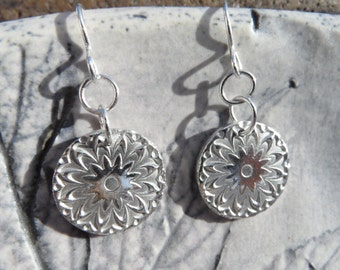 Fine Silver Circular Drop Earrings