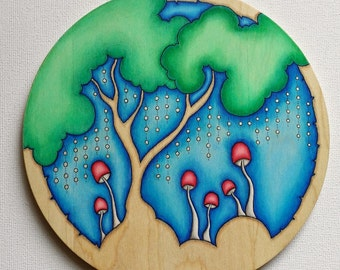 The Round Woods - Original Drawing and Painting on Wood