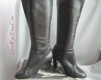 Vintage Tall Leather Stretch Boots / size 5 .5 B  Eur 35 .5 UK 3 / Black 90s High Chunky Heels Slouch Stack / made W. Germany