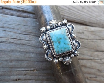 ON SALE Turquoise ring handmade and signed in sterling silver by a Navajo silversmith