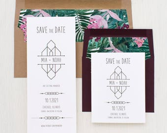 "Save the Dates, Kraft Burgundy, Modern Tropical Save the Date Cards, Destination Wedding, Envelope Liners - ""Tropical Forest"" Save the Dates"