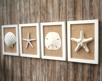 Beach Cottage Chic Wall Art, Nautical Decor, Beach House Wall Decor, Coastal Decor, Beach Decor, Coastal Wall Art, White & Natural Burlap