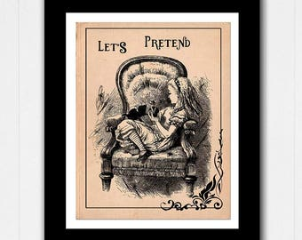 Alice in Wonderland Sitting with her Kitten Quote - Buy 2 Get 1 FREE