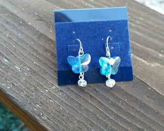 Light Blue Crystal Butterfly Bead Earrings - Girls Dangle Jewelry Spring Easter Fashion Accessories Flowergirl leverback 925 sterling silver
