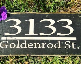 11x6 Custom Address Street (Choose Color) Shabby Chic Sign
