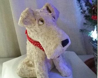 Clay Terrier Dog Sculpture