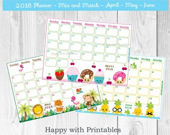Kalender 2018 Planner - April tot en met Dec - schattige Planner - Mix en Match thema - Planner - Planner 2018 - 2018 Calendar - Instant Download