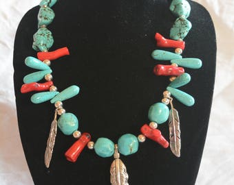 3 Feathers - turquoise, coral, sterling silver necklace