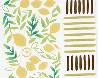 Japanese Tenugui Cotton Fabric, Lush Lemon, Home & Living, Botanical Citrus Limone, Hand Dyed Fabric, Kitchen Wall Hanging, Home Decor, n190