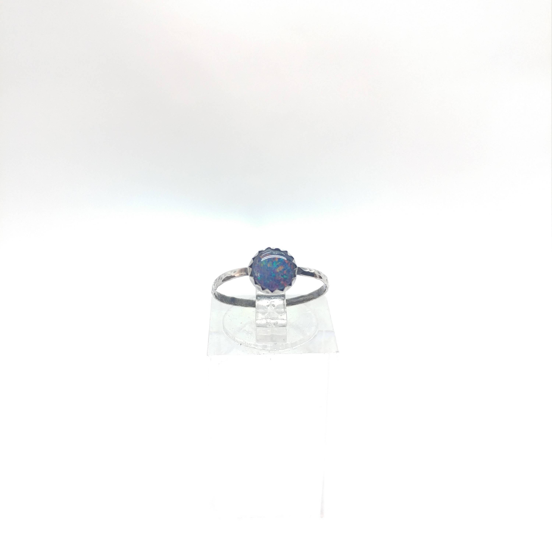 Australian Opal Ring | Sterling Silver Ring Sz 5 | Opal Triplet Ring | Opal Jewelry | Tiny Opal Ring | Opal Stacking Ring | Opal Midi Ring