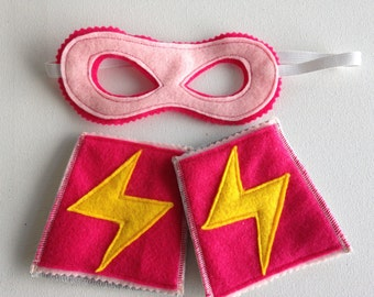 Kid's Ecofelt Mask and Cuff Set - Super Girl's Lightening Bolts