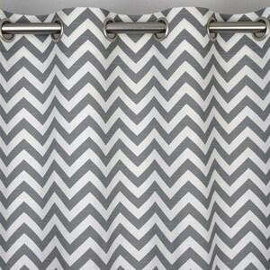 Ash Gray White Modern Contemporary Zig Zag Chevron Curtains   Grommet   84  96 108 Or