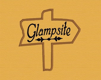 Digital Instant Download Glampsite applique embroidery design glamping sign applique camping download