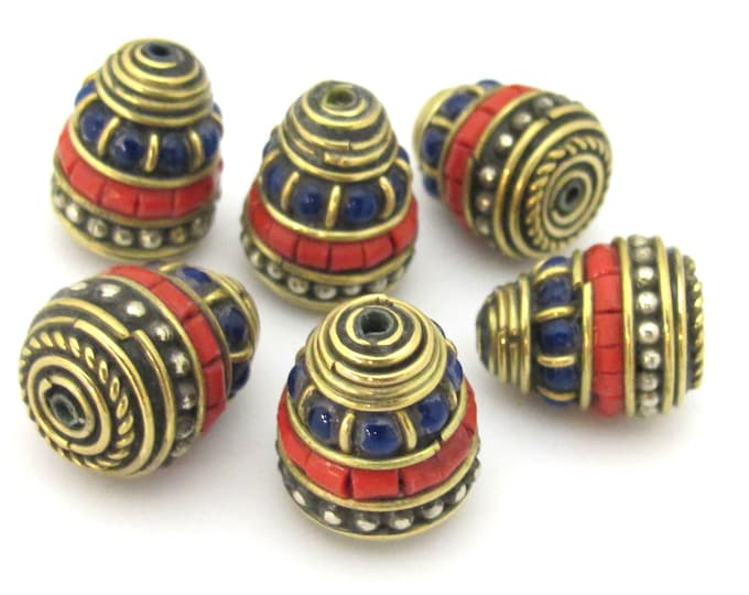 1 bead - Nepal Brass Bead cone shape  bead with red blue inlays - nepal beads supplies BD906