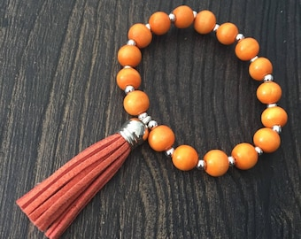 REF #52 - Bohemian Bracelet orange wood and 18 CM tassel