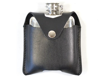 Handmade Pewter Vegetable Tanned Black Leather 4oz Hip Flask