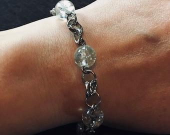 Handmade Chain Link and glass bead Bracelet