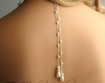 Back Drop Pearl Bridal Necklace Backdrop Lariat Style with White or Ivory Pearl - available in silver or gold - EMMA