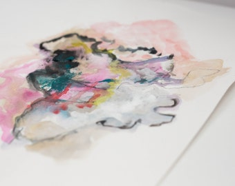 SALE** Untitled Abstract Drawing with Pink, Black, and Gray