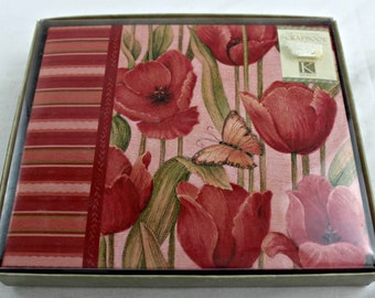 6x6 red tulips scrapbook album postbound 40 top loading pages