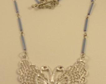 Bugle Bead Butterfly Necklace