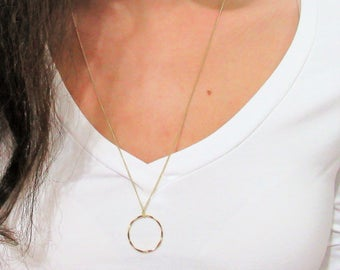 14K Goldfield Necklace With hammered loop