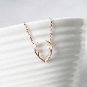 Rose gold antler necklace, Horn necklace, Horn jewelry, Forest woodland jewelry, Animal jewelry, Nature inspired jewelry, Christmas gift,
