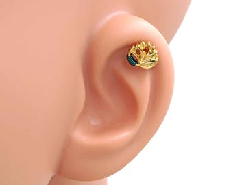 Gold Lotus Flower 16 Gauge Helix Cartilage Earring