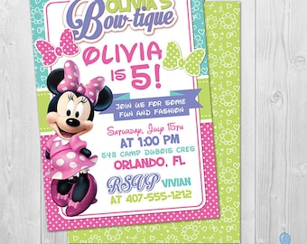 Minnie Bowtique Invitation, Minnie Mouse Invitation 1st 2nd 3rd Birthday Invitation Printable Minnie Mouse Party Invite, First Second Third