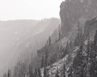 Mountain Photography, Forest Art Print Pacific Northwest Foggy Black and White Modern Nature Evergreens Cliff Scandinavian Oregon Neutral