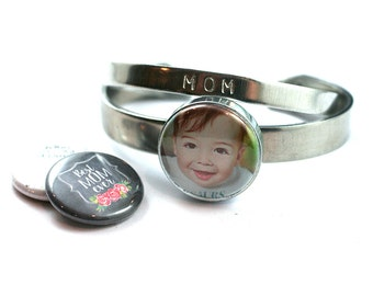 Child Photo MOM Bangle Bracelet | Stackable Bracelet - Interchangeable Lids, YOUR Child's Picture, Mom Quotes, Adjustable, Stamped Initial