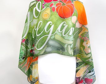 Vegan scarf unisex - Go Vegan Themed Art - vegetables - gift for vegan - gift for farmer- motivation art geek silk scarf - animal rights