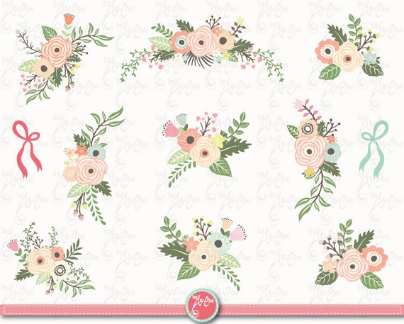 flowers clipart pack pastel floral bouquet clip rh etsy com vintage flower clipart black and white vintage flower clipart png