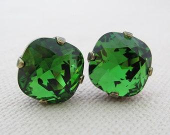 Green Rhinestone Jewelry, Christmas Necklace and Earrings, Christmas Jewelry Set,Swarovski Rhinestone Jewelry,Swarovski Matching Jewelry Set