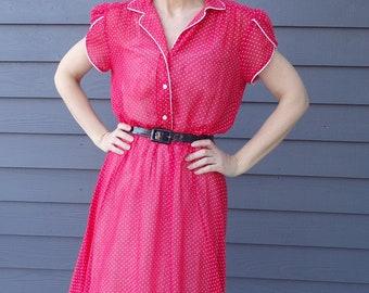 sheer RED POLKA DOT 70's 80's dress vintage M L