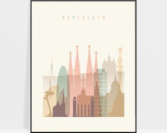 Barcelona Skyline Poster, Barcelona Wall Art Print, Travel decor, Spain, City poster, Travel gift, Home Decor, Digital Print ArtPrintsVicky