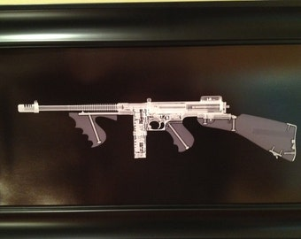 Tommy Gun  CAT scan gun print - ready to frame